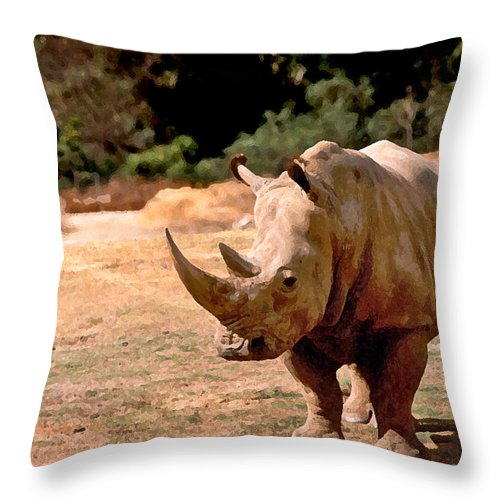 Animal Throw Pillow featuring the painting Rhino by Steve Karol