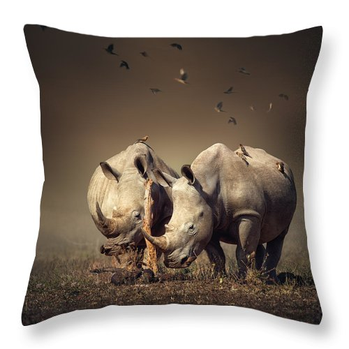 Rhinoceros Throw Pillow featuring the photograph Rhino's With Birds by Johan Swanepoel