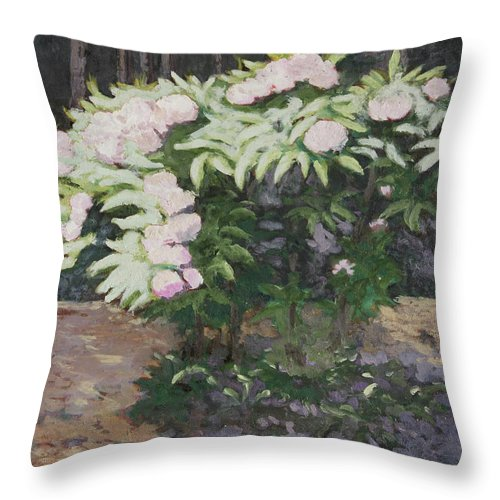 Rhododendron Throw Pillow featuring the painting Rhododendron by Craig Newland