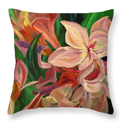 Rhododendron Throw Pillow featuring the painting Rhododendron by Donna Drake