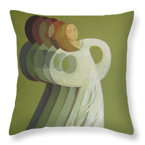 Rhythm Throw Pillow featuring the painting Rhythm by Elena Oleniuc