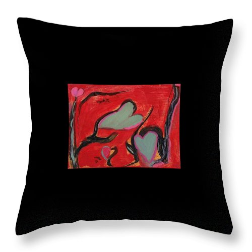 Hearts Red Love Abstract Throw Pillow featuring the painting Rhythm of Love by Patricia Byron
