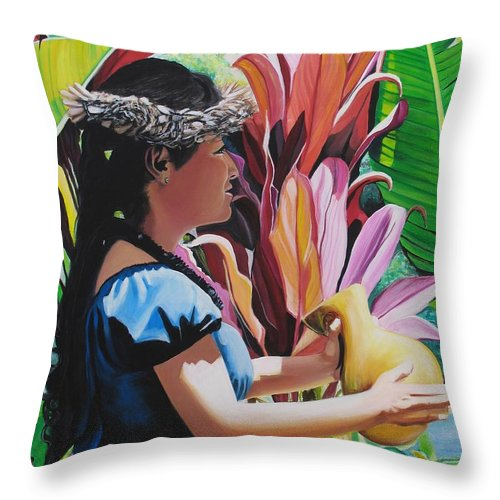 Rhythm Throw Pillow featuring the painting Rhythm Of The Hula by Marionette Taboniar