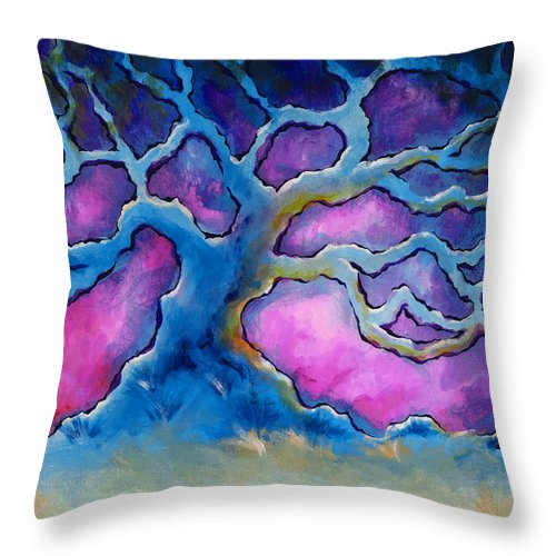Landscape Throw Pillow featuring the painting Ria by Jennifer McDuffie