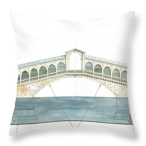 Architecture Artwork Throw Pillow featuring the painting Rialto Bridge Venice by Juan Bosco
