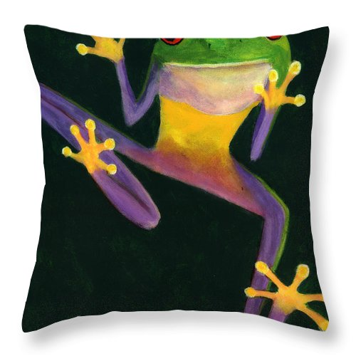 Frog Throw Pillow featuring the painting Ribbit by Linda Hiller