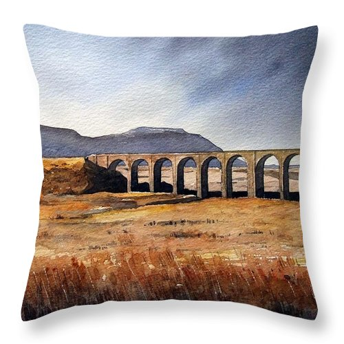Landscape Throw Pillow featuring the painting Ribblehead Viaduct by Paul Dene Marlor