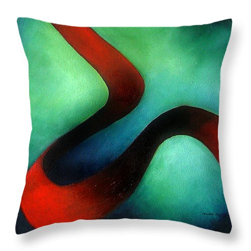 Red Throw Pillow featuring the painting Ribbon Of Time by Elizabeth Lisy Figueroa
