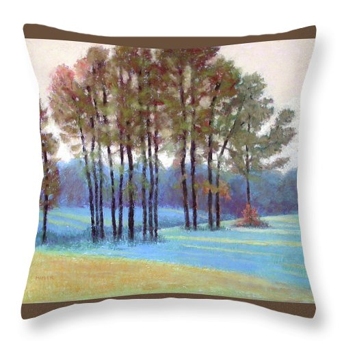 Early Evening Landscape Throw Pillow featuring the painting Ribbons Of Light by Julie Mayser