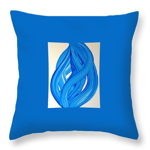 Abstract Modern Contemporary Yupo Art Painting Romantic Pop Blue Throw Pillow featuring the painting Ribbons of Love-Blue by Manjiri Kanvinde