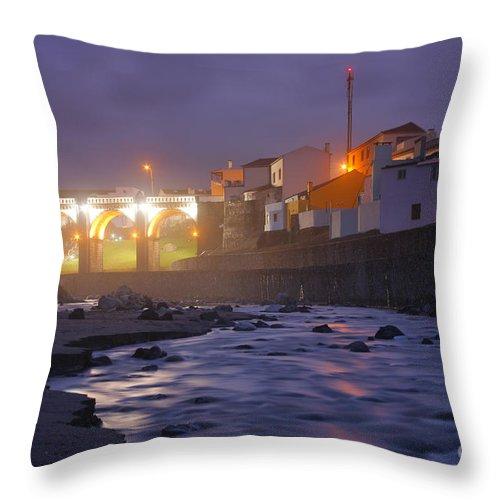 Ribeira Grande Throw Pillow featuring the photograph Ribeira Grande At Night by Gaspar Avila