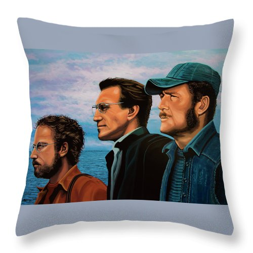 Jaws Throw Pillow featuring the painting Jaws with Richard Dreyfuss, Roy Scheider and Robert Shaw by Paul Meijering