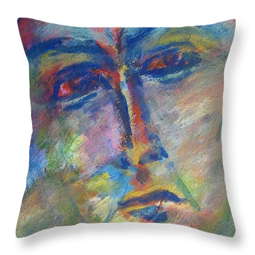 Abstract Throw Pillow featuring the painting Richard's Mood Today by Judith Redman