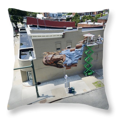 Rmp Throw Pillow featuring the photograph Richmond Mural Project James Bullough 2 by Creative Dog Media