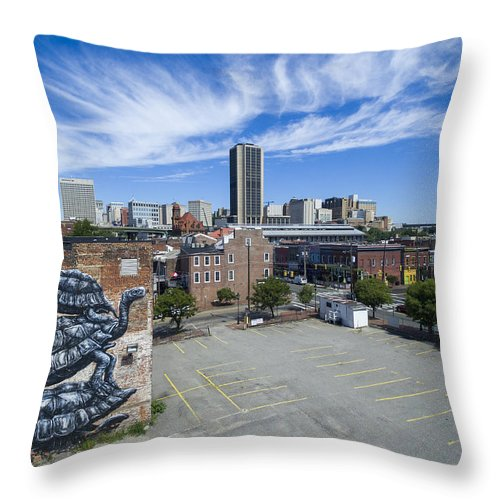 Rmp Throw Pillow featuring the photograph Richmond Mural Project Roa by Creative Dog Media