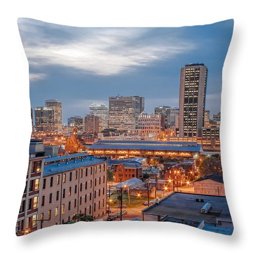 Hdr Throw Pillow featuring the photograph Richmond Skyline At Night by Tim Wilson