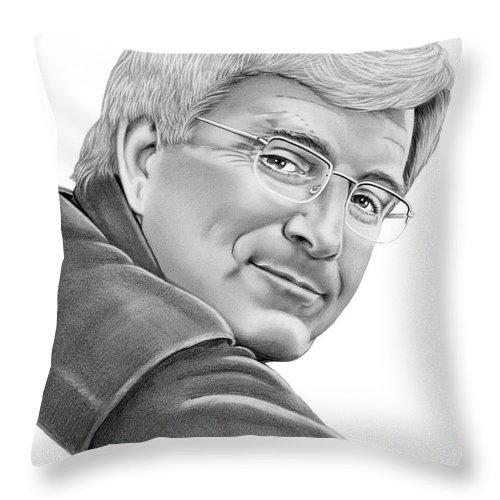 Pencil Throw Pillow featuring the drawing Rick Steves by Murphy Elliott