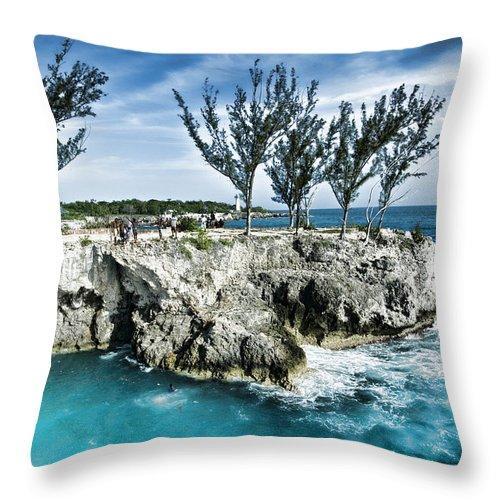 Jamaica Throw Pillow featuring the photograph Rick's Cafe Negril Jamaica by Sheri Bartoszek