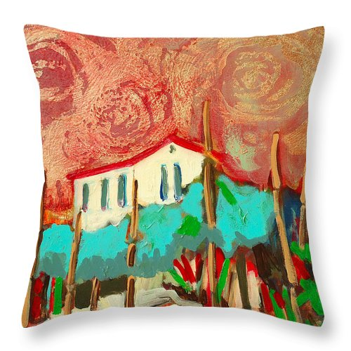 Tuscany Throw Pillow featuring the painting Ricordare by Kurt Hausmann