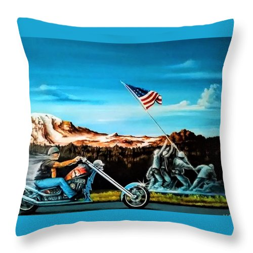 Iwojima Throw Pillow featuring the painting Ride Forever by DC Houle