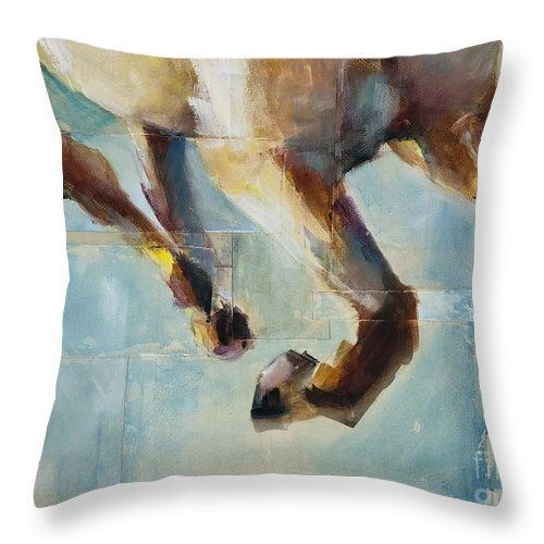 Horses Throw Pillow featuring the painting Ride Like You Stole It by Frances Marino