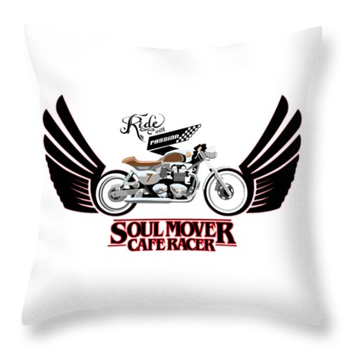 Typography Throw Pillow featuring the painting Ride With Passion Cafe Racer by Sassan Filsoof