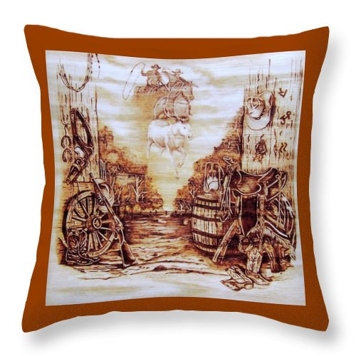 Western Throw Pillow featuring the pyrography Riders In The Sky by Danette Smith