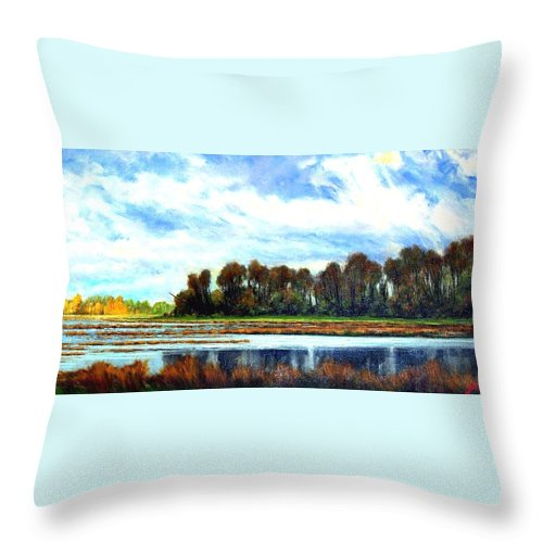 Landscapes Throw Pillow featuring the painting Ridgefield Refuge Early Fall by Jim Gola