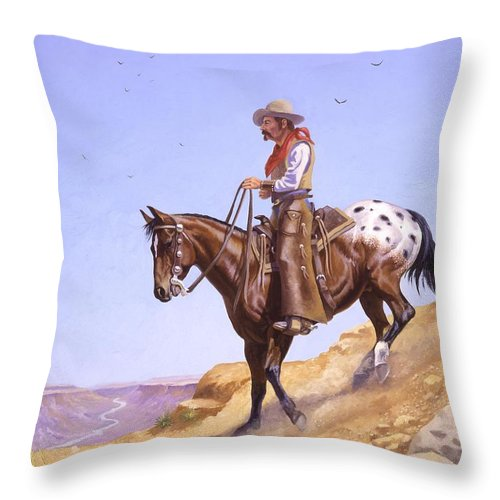 Appaloosa Throw Pillow featuring the painting Ridin' High by Howard Dubois