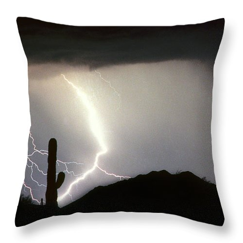 Lightning Throw Pillow featuring the photograph Ridin The Southwest Desert Storm Out by James BO Insogna