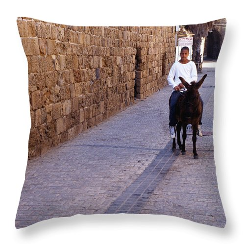 Young Man Throw Pillow featuring the photograph Riding A Donkey by Thomas R Fletcher