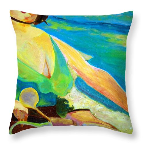 Dornberg Throw Pillow featuring the painting Riding A Motor Scooter by Bob Dornberg