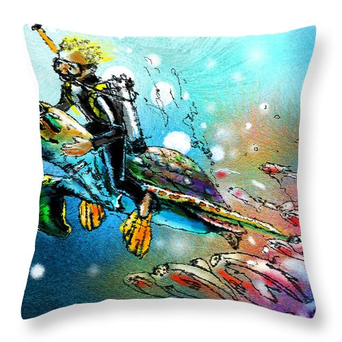 Turtle Painting Throw Pillow featuring the painting Riding A Turtle by Miki De Goodaboom