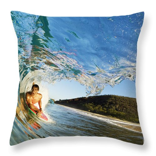 Action Throw Pillow featuring the photograph Riding Barrel At Makena by MakenaStockMedia - Printscapes