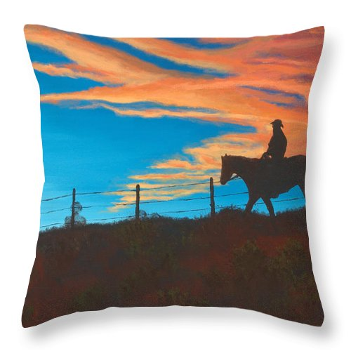 Cowboy Throw Pillow featuring the painting Riding Fence by Jerry McElroy