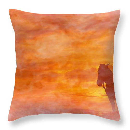 Riding Into The Sunset Throw Pillow featuring the digital art Riding Into The Sunset by Randy Steele