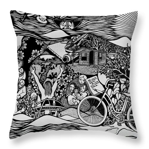 Drawing Throw Pillow featuring the painting Riding Life In A Old Red Bicycle... by Jose Alberto Gomes Pereira