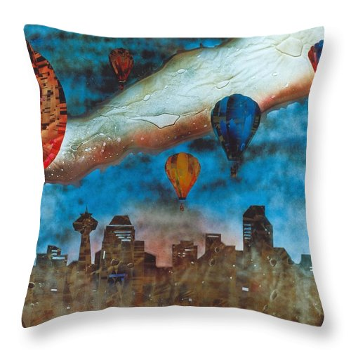 Landscape Throw Pillow featuring the painting Riding The Chinook by Rick Silas