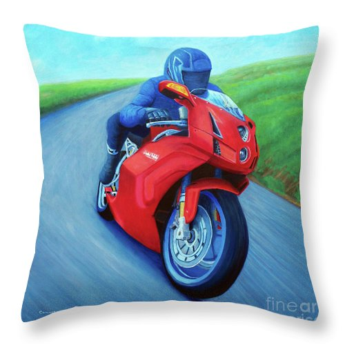Motorcycle Throw Pillow featuring the painting Riding The Highlands - Ducati 999 by Brian Commerford