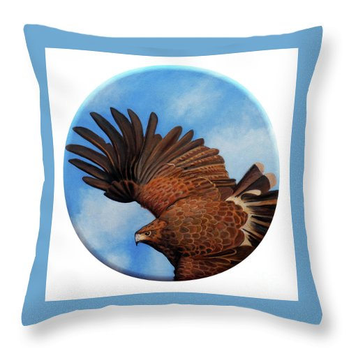 Hawk Throw Pillow featuring the painting Riding the Wind by Brian Commerford