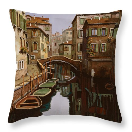 Venice Throw Pillow featuring the painting Riflesso Scuro by Guido Borelli
