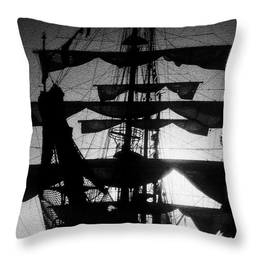 Sailing Ship Throw Pillow featuring the painting Rigging And Sail by David Lee Thompson