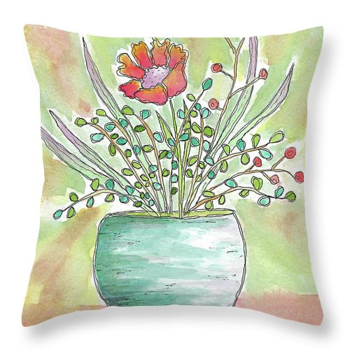 Watercolor And Ink Throw Pillow featuring the painting Right In The Middle by Susan Campbell