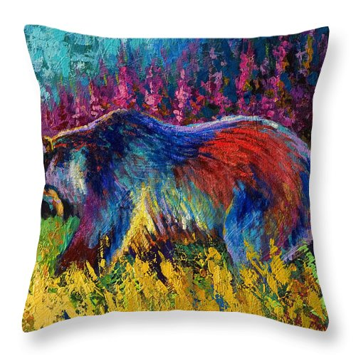 Western Throw Pillow featuring the painting Right Of Way - Grizzly Bear by Marion Rose