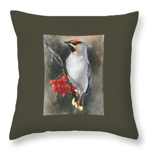 Cedar Waxwing Throw Pillow featuring the painting Righteous by Barbara Keith
