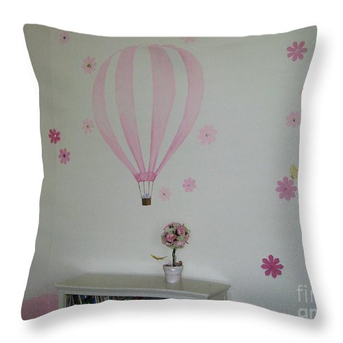Children's Room Throw Pillow featuring the painting Riley's Room 1 by Maria Hunt