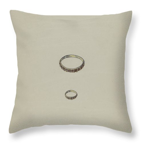 Throw Pillow featuring the drawing Ring by American 20th Century