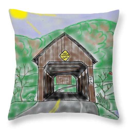 Covered Bridge Throw Pillow featuring the mixed media Ringo's Mill Bridge by James Back