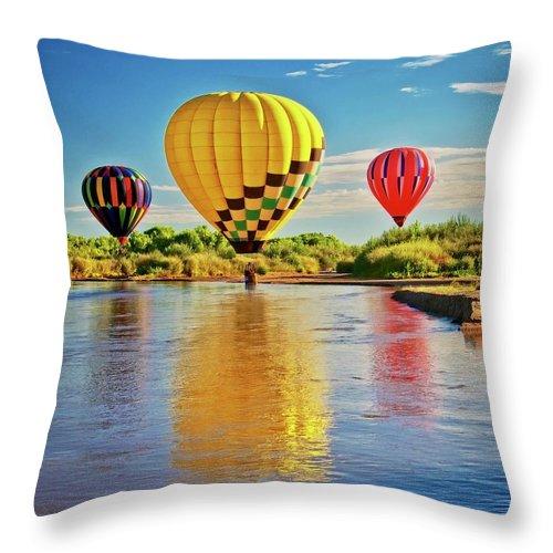 Fine Art Photography Throw Pillow featuring the photograph Rio Grande balloon Reflection, Albuquerque, NM by Zayne Diamond Photographic