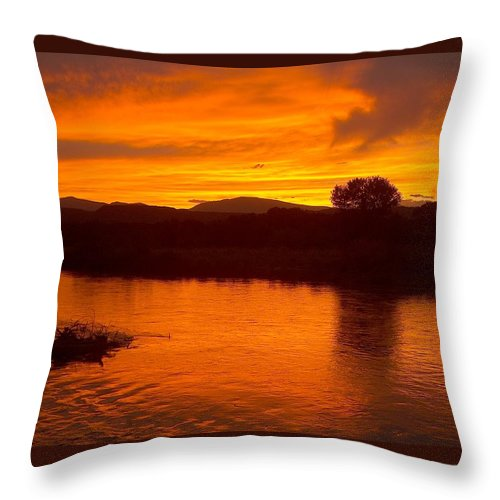 Sunset Throw Pillow featuring the photograph Rio Grande Sunset by Tim McCarthy